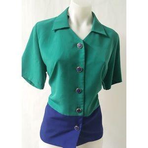 Blue & Green Vintage Top Size Medium